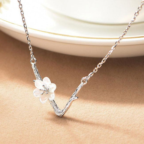 Unique V shape Imitating Branch Lines Clavicle Chain Shell Cherry Flower Pendant  Necklace