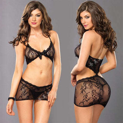 Sexy Lace Bra Set Hollow Flower Intimate Black Bow Women Lingerie - wikoco