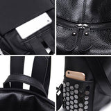 Punk Square Large Multi-function School Backpack Shoulder Bag Girl's Black PU Rivets Travel Backpack