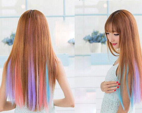 Pretty Colorful Highlights Clip Hair Extensions - wikoco.com