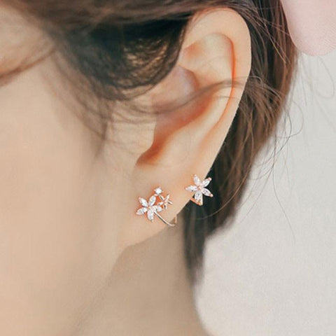 Sweet Lady Arc Hook Flower Silver Earring Studs