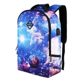 Unique Colorful Starry Sky School Bag Sport Backpack Galaxy USB Charging Business Backpack - wikoco
