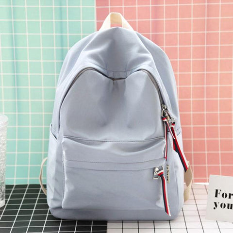Sweet Solid Color Waterproof Lightweight College Literary School Bag Student Backpack - wikoco