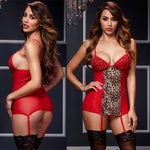 Sexy Leopard Nightdress Perspective Sling Pajamas Night Gown Women Intimate Lingerie