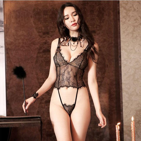Sexy Transparent Women Sling Backless Lace Conjoined Pajamas Intimate Lingerie - wikoco