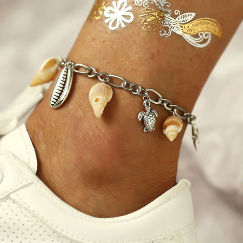 Creative Conch Metal Shell Pendant Turtle Women Anklet