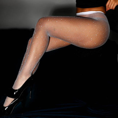 Sexy Pantyhose Drilling Fishnet Socks Diamond Leggings Stockings Female Lingerie - wikoco