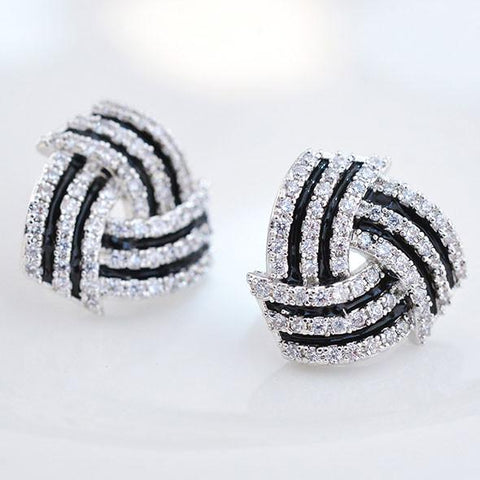 Fashion Diamond-bordered Stratified Geometric Pattern Spiral Silver Women Earring Studs