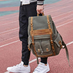 Retro Men's Three Pockets Outdoor Rucksack Large Leisure Travel Canvas Backpack