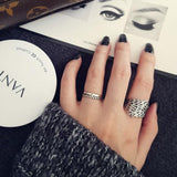 Retro Branch Silver Open Ring Hollow Leaves Leaf Ring
