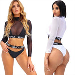 Sexy Long Sleeves Sunscreen Perspective Mesh Bikinis OMG Letter Summer Swimsuit - wikoco