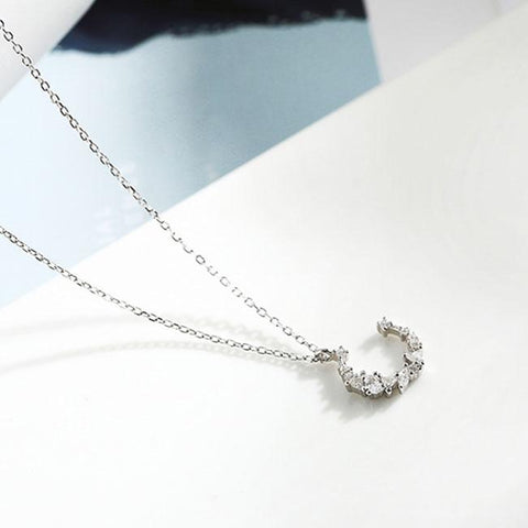 Fashion  Moon Zircon Pendant Silver Necklace Friend Gift Women Necklace