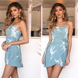 Sexy Blue Summer Printed Sling Irregular New Blue Dress
