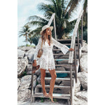 Leisure Beach Hollow Dress Lace Long Sleeve Sunscreen Summer Dress Skirt