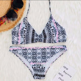 Sexy Women's White Contrast Color Geometric Pattern Halter Bikini Summer Swimsuit
