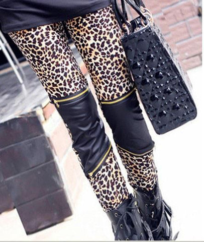New Leopard Print Stitching Zipper Slim Leggings - wikoco.com
