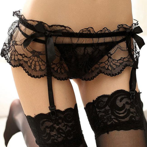 Sexy Women's Lace See Through Mesh Lace T-back Garter Belt Stockings Lingerie