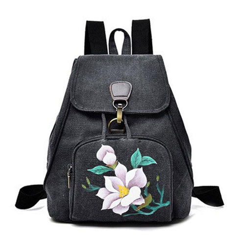 Retro Folk Single Button Flower Canvas Travel Backpack