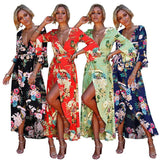 Sexy Bohemian Summer Beach Long Dress Bell Sleeve Dress