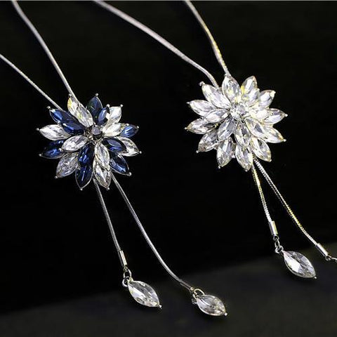 Unique Crystal Rhinestone Sweater Chain Necklace Stratified Flower Pendant Necklaces