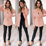 New Winter Autumn Knitting Sweater Long Sleeve Tie-up Women's Tops Coat