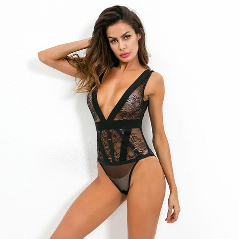 Sexy Lace Mesh Perspective Conjoined Underwear Flower Black Intimate Lingerie
