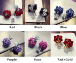 New Flower Bouquet Ball Round Crystal Earrings Stud
