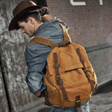 Vintage Large Travel Backpack Hiking Outdoor Rucksack Thick Canvas Camping Backpack