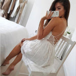 Fresh Backless Sling Flower Lace Summer Dress V-neck Hollow Stitching Dress