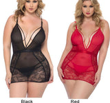 Sexy Mesh Gauze Nightdress Large Size Women Lace Hollow Sling Intimate Lingerie - wikoco