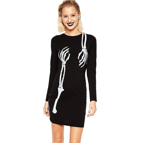 Women's X-ray Perspective Print Long Sleeve Dress Bodycon Tunic Dress