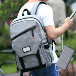 Leisure Travel USB Interface Gray Large Student Backpack Waterproof Canvas School Bag