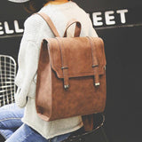 Retro Metal Lock Match Large Scrub Matte Square PU College Backpack