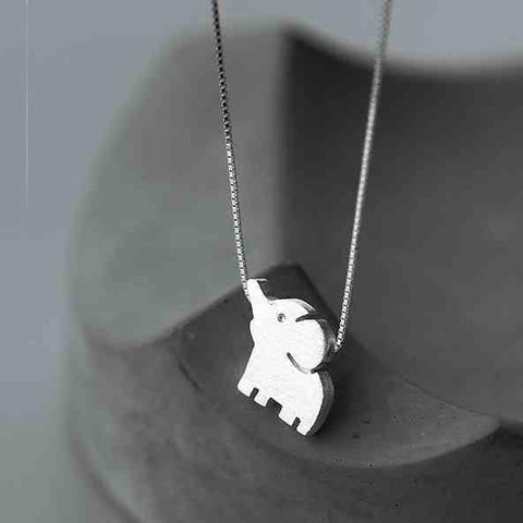 Lovely Elephant Pendant Unique Girl Friend's Gift Silver Animal Necklaces