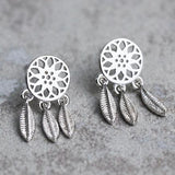 Cute Dream Catcher Feather Girl's Hollowed-out Folk Tassel Silver Earring Studs