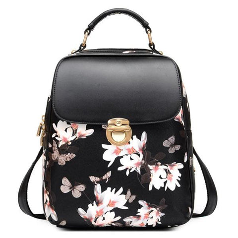 Unique Girl Butterfly Flower School Bag Casual Student Backpack