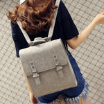 Retro Frosted Metal Lock Flap Backpack Multifunction Shoulder Bag Headphones Hole PU Square College Backpack