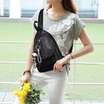 Leisure PU Black Weave Bag Small Multi-function Shoulder Bag Woven Backpack