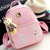 Lovely Cartoon Cats Printing PU Backpack Gift Shoulder Bag Leisure Large School Backpack