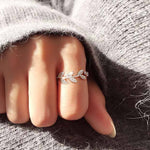 Sweet Leaf Ring Vivid Diamond-bordered Leaves Silver Women Open Ring