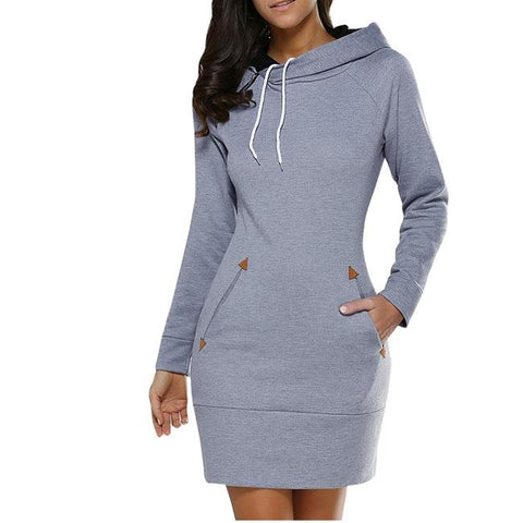 Fashion Solid Hooded Pullover Silm Long Sleeves Women Autumn Sweater Dress