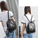 Romantic Girl's Draw String Flap PU Black Embroidery Cartoon Lovers School Backpack