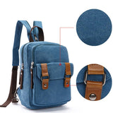 Retro Multifunction Shoulder Bag Dual-purpose Small Splicing Belts Canvas School Backpacks