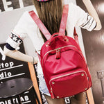 Fashion Simple Large Polyester Splicing PU Rivets Waterproof College Backpack