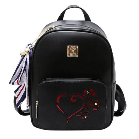 Leisure Heart Hollow Rose Black PU College Bag School Backpack - wikoco