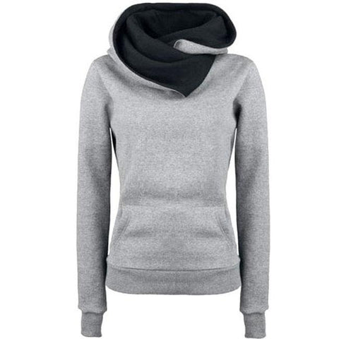 Fashion Turn-down Collar Hoodie Sweater Pullovers Coat Autumn Women's Thick jacket