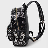Fashion Shining Sequin Stars Backpack&School Bag-Black - wikoco.com