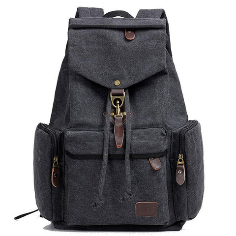 Retro Travel Backpack Canvas Men's School Rucksack Flap Metal Lock Large Capacity Backpack