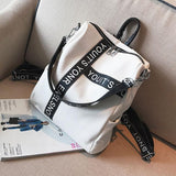 Unique Letters Black White Contrast Color Girl's Square Large Multi-function Shoulder Bag School Backpack