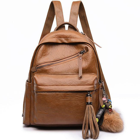 Vintage Casual Outdoor Sports PU School England Style Tassels Travel Backpack
